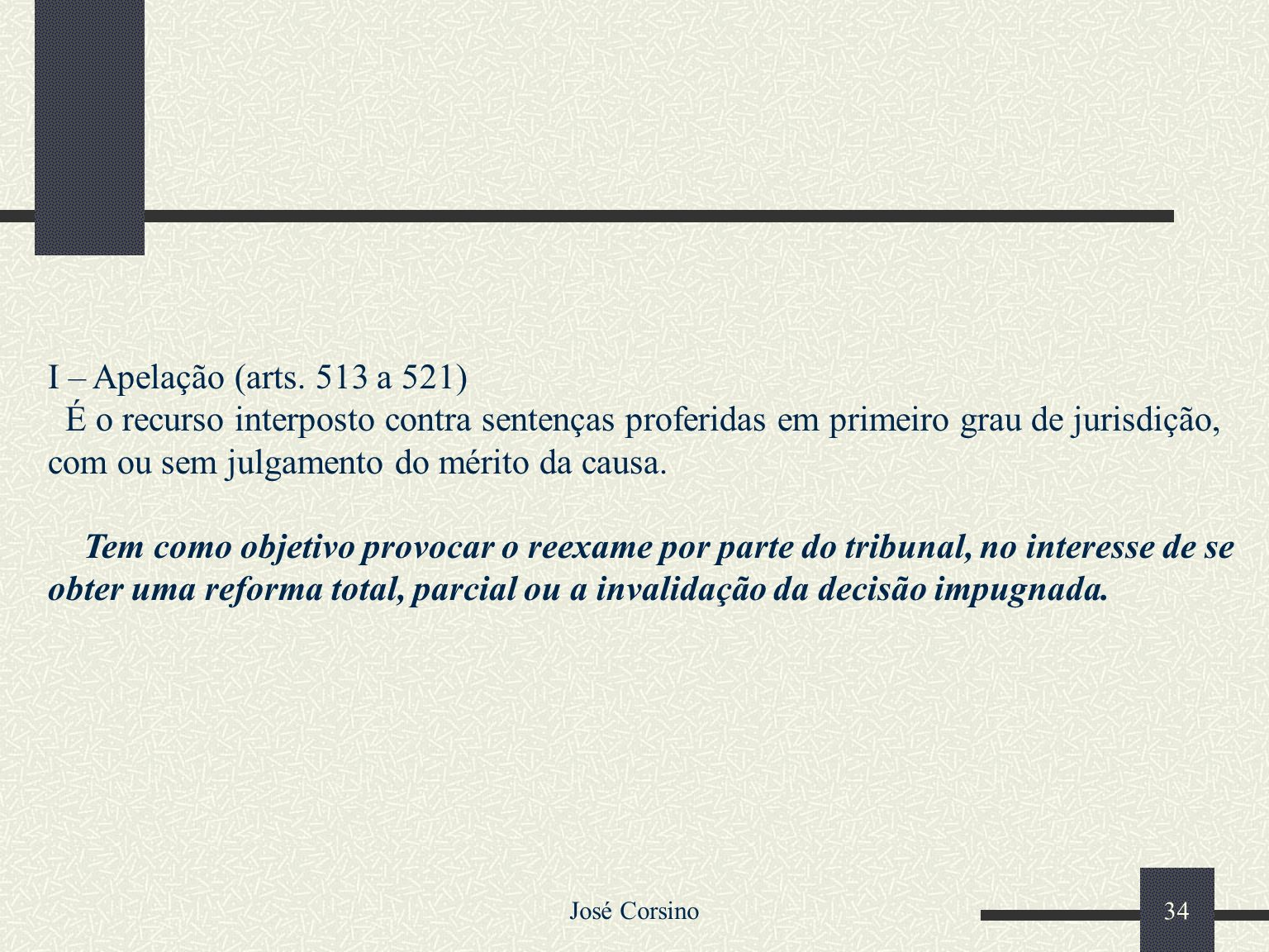 I – Apelação (arts. 513 a 521)