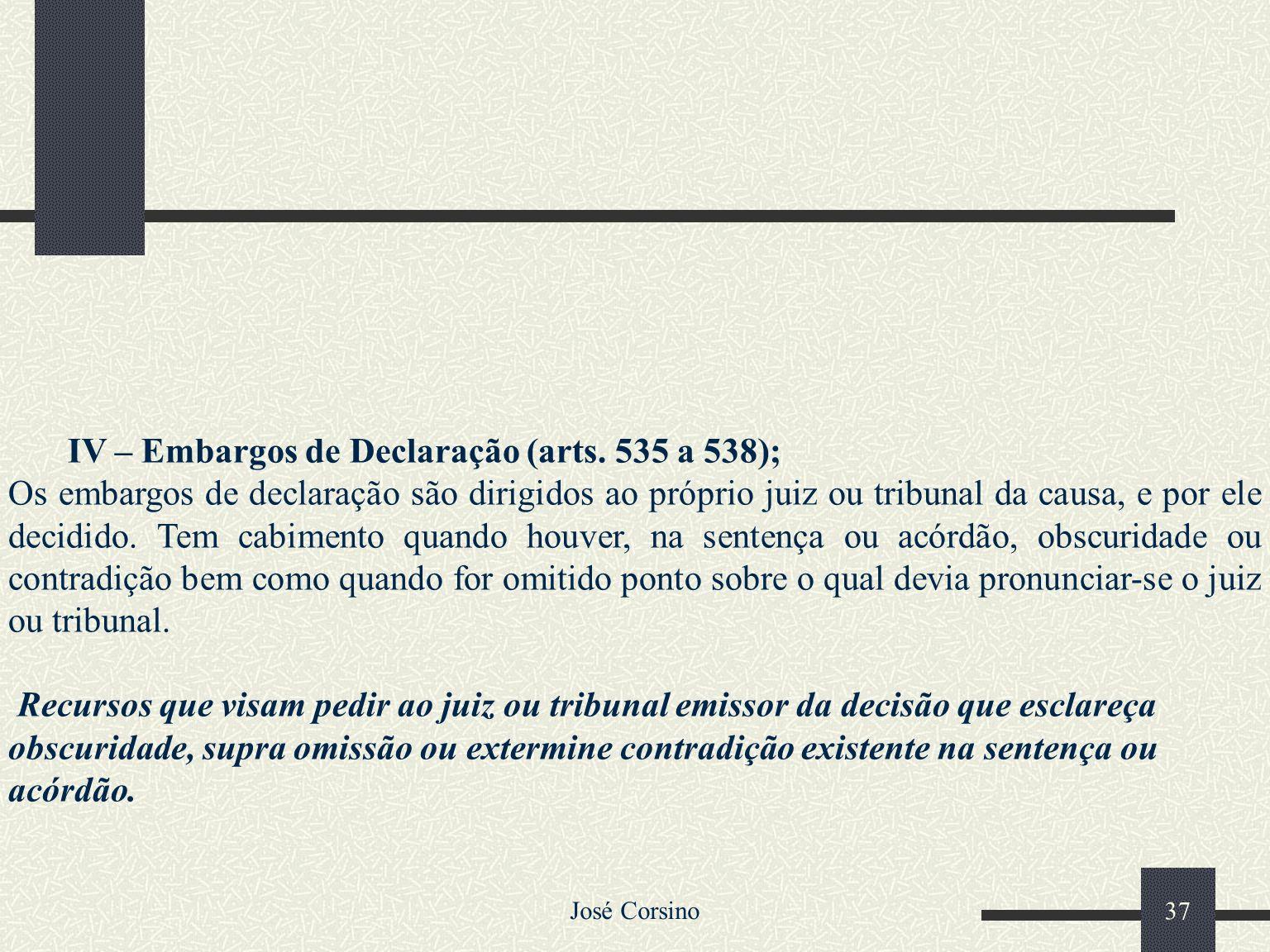 IV – Embargos de Declaração (arts. 535 a 538);