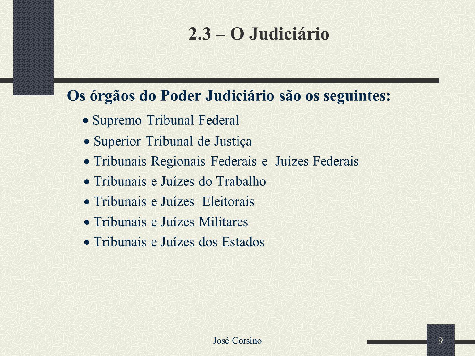 Os órgãos do Poder Judiciário são os seguintes: