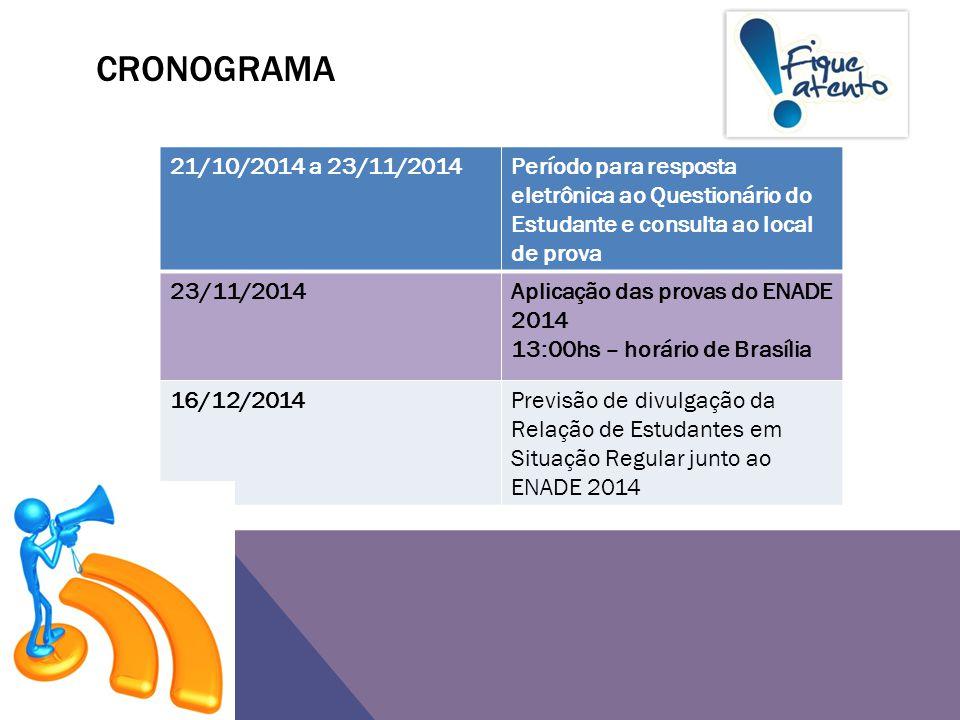 Cronograma 21/10/2014 a 23/11/2014. Período para resposta eletrônica ao Questionário do Estudante e consulta ao local de prova.