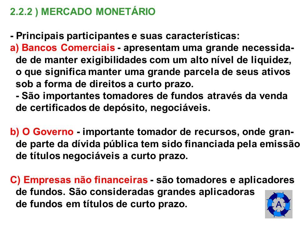 2.2.2 ) MERCADO MONETÁRIO- Principais participantes e suas características: a) Bancos Comerciais - apresentam uma grande necessida-