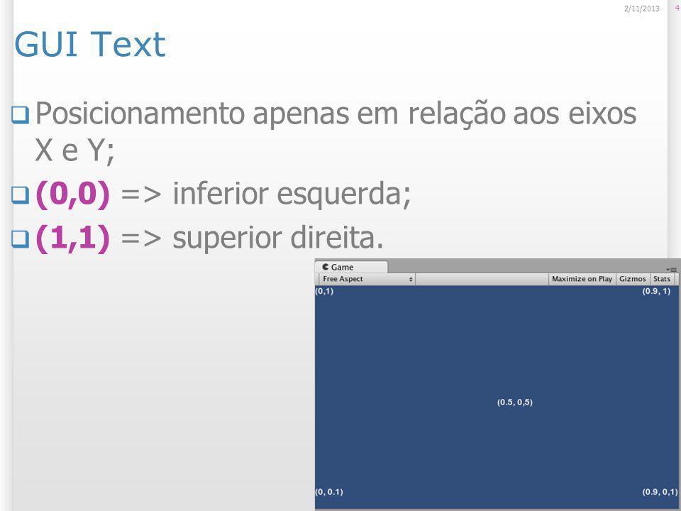 GUI Text Posicionamento apenas em relação aos eixos X e Y;