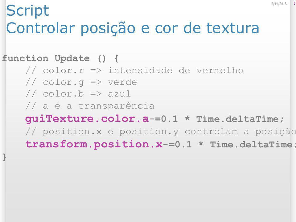 Script Controlar posição e cor de textura