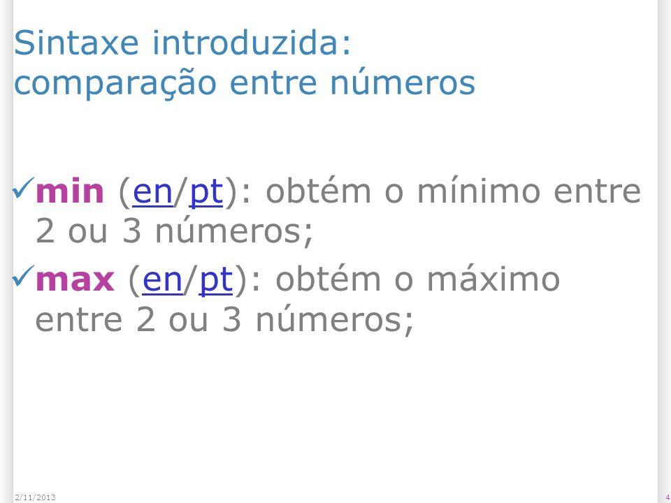 Sintaxe introduzida: comparação entre números