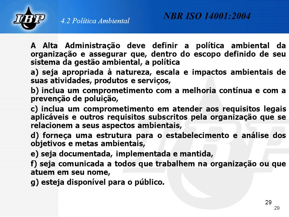 NBR ISO 14001:2004 4.2 Política Ambiental