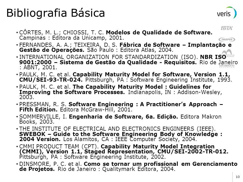 Bibliografia Básica CÔRTES, M. L.; CHIOSSI, T. C. Modelos de Qualidade de Software. Campinas : Editora da Unicamp, 2001.