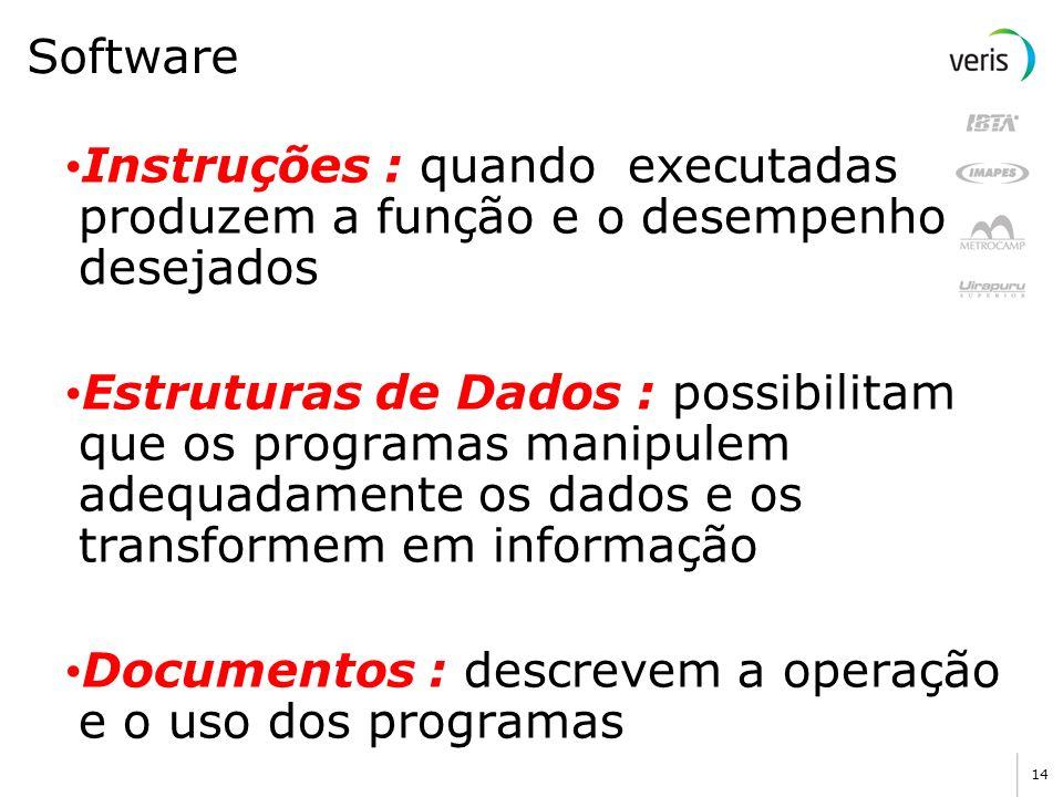 Software Instruções : quando executadas produzem a função e o desempenho desejados.