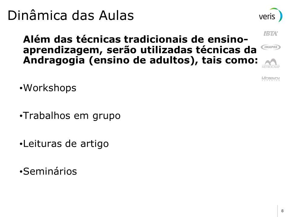 Dinâmica das Aulas Além das técnicas tradicionais de ensino-aprendizagem, serão utilizadas técnicas da Andragogia (ensino de adultos), tais como: