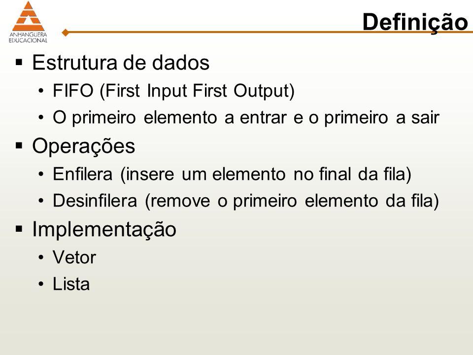 Definição Estrutura de dados Operações Implementação