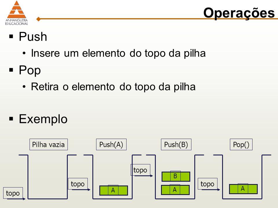 Operações Push Pop Exemplo Insere um elemento do topo da pilha