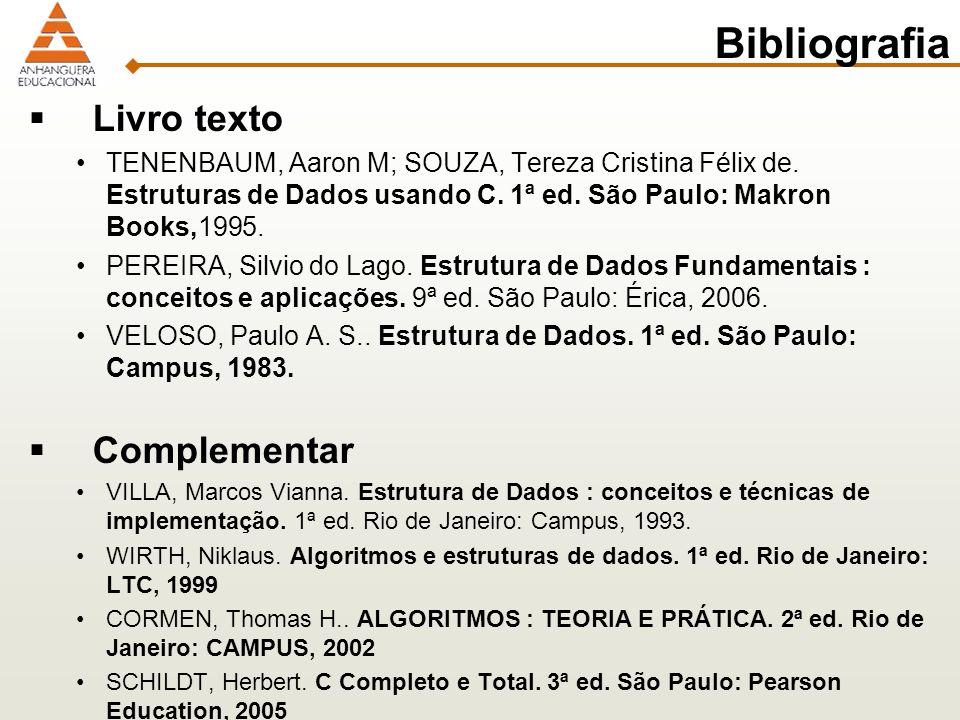 Bibliografia Livro texto Complementar