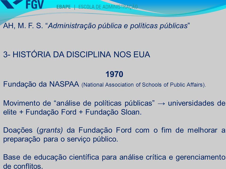 3- HISTÓRIA DA DISCIPLINA NOS EUA 1970