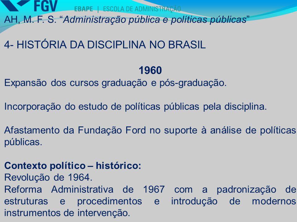 4- HISTÓRIA DA DISCIPLINA NO BRASIL 1960