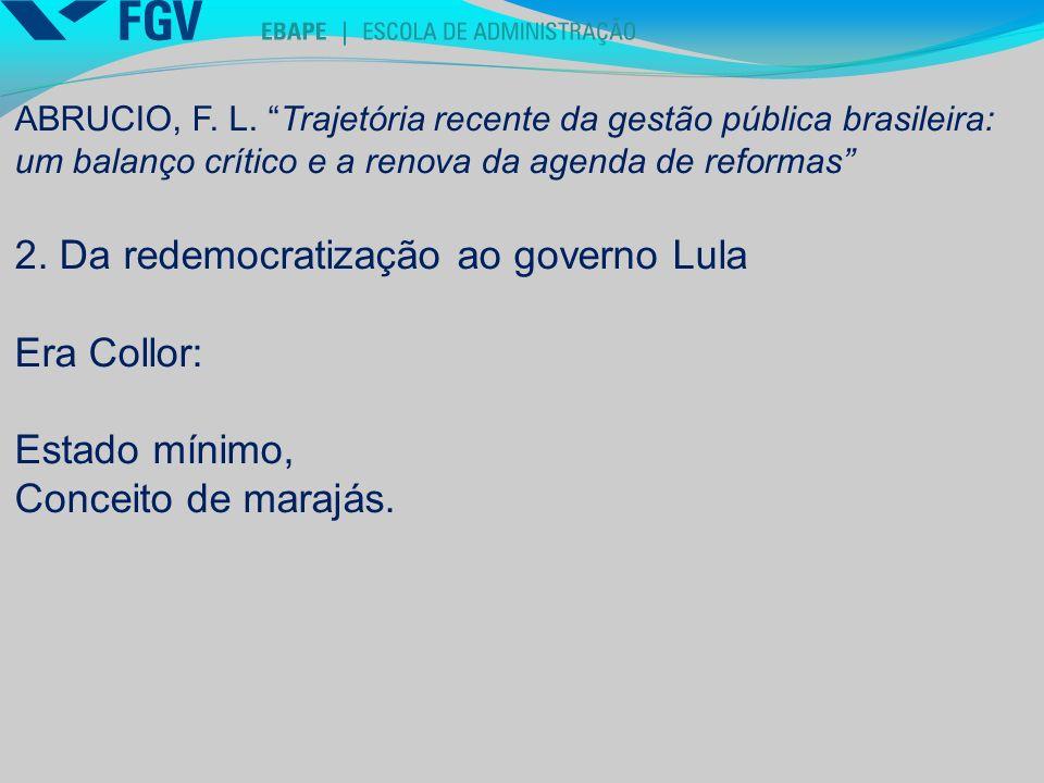 2. Da redemocratização ao governo Lula Era Collor: Estado mínimo,