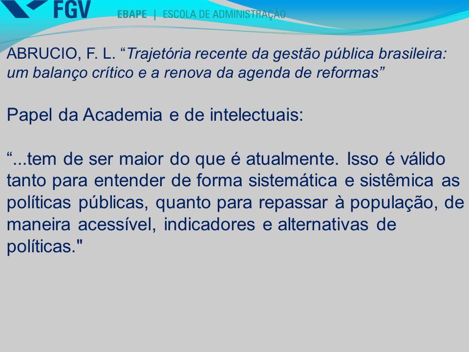 Papel da Academia e de intelectuais: