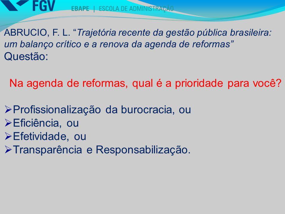 Na agenda de reformas, qual é a prioridade para você