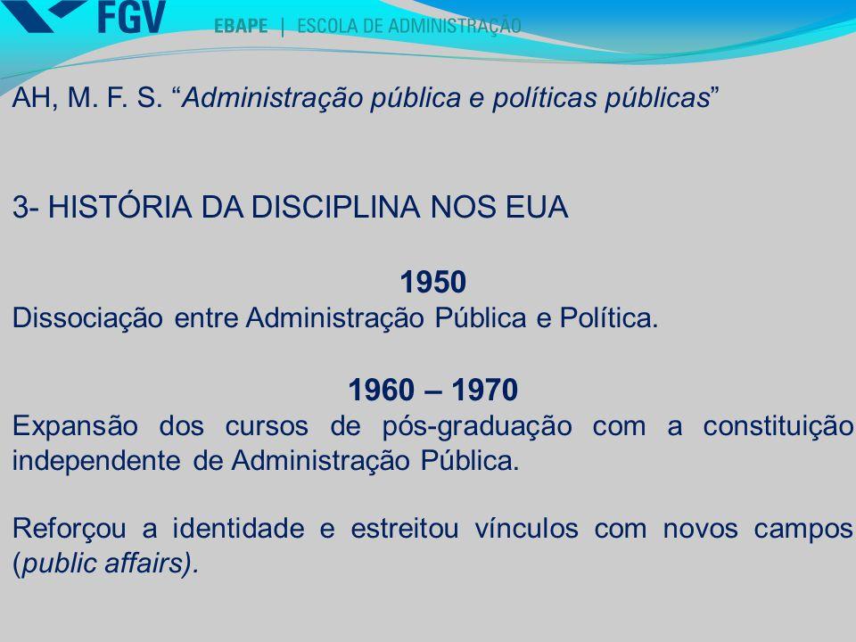 3- HISTÓRIA DA DISCIPLINA NOS EUA 1950