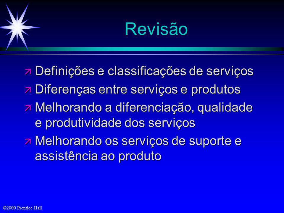 Revisão Definições e classificações de serviços