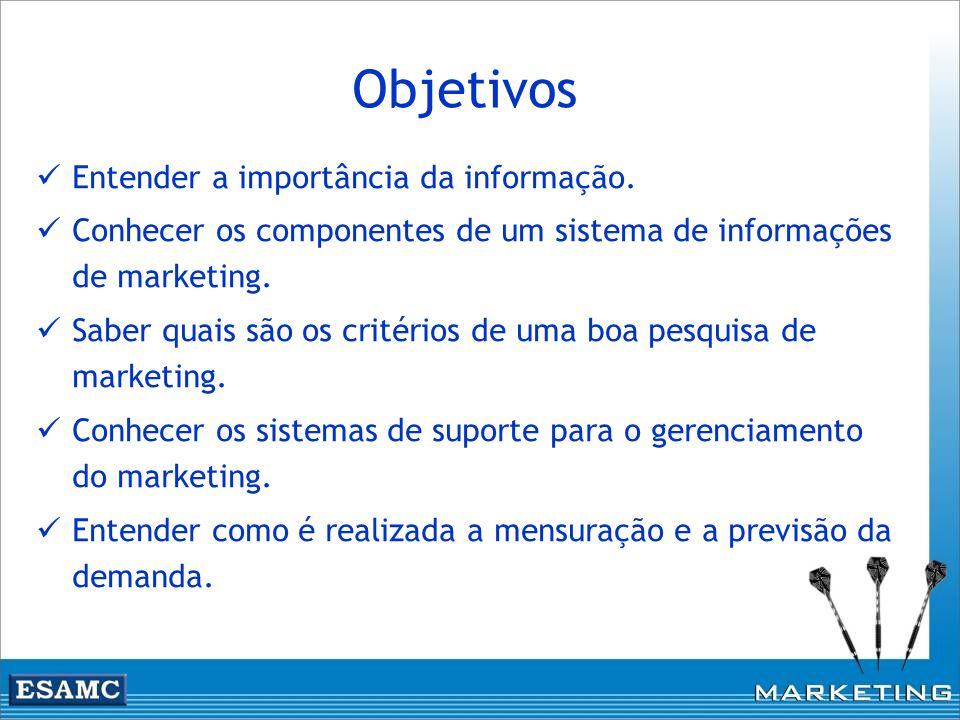 Objetivos Entender a importância da informação.