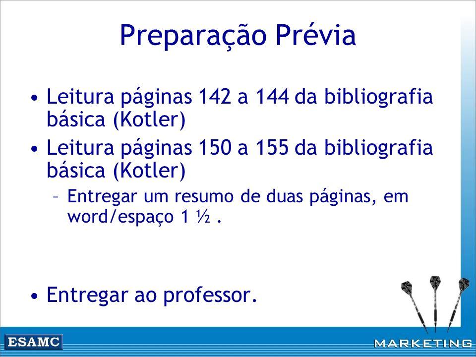Preparação Prévia Leitura páginas 142 a 144 da bibliografia básica (Kotler) Leitura páginas 150 a 155 da bibliografia básica (Kotler)
