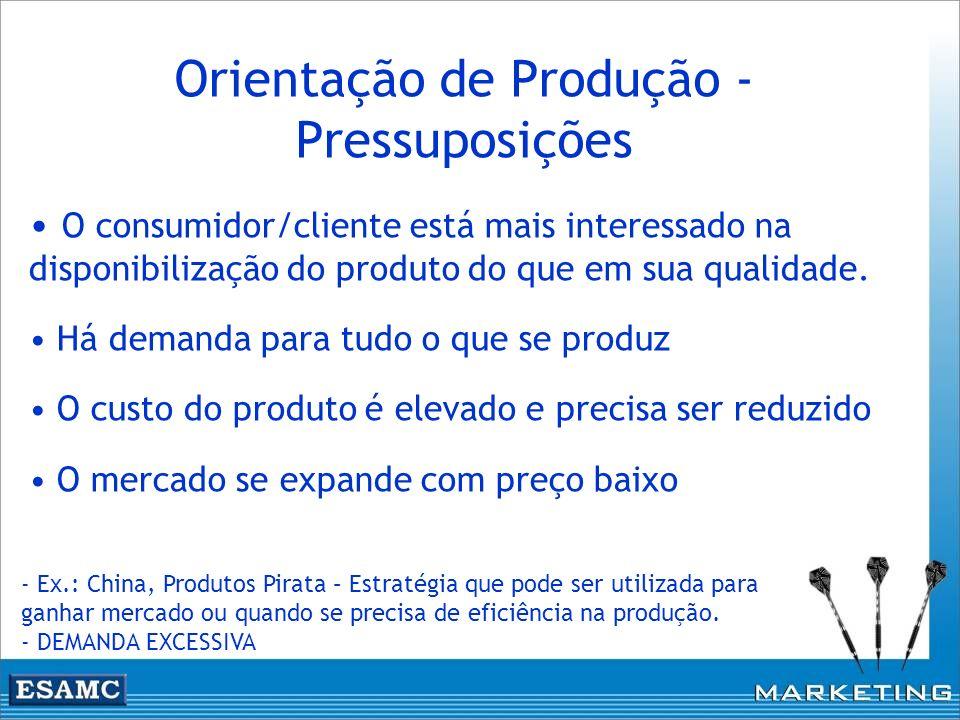 Orientação de Produção - Pressuposições