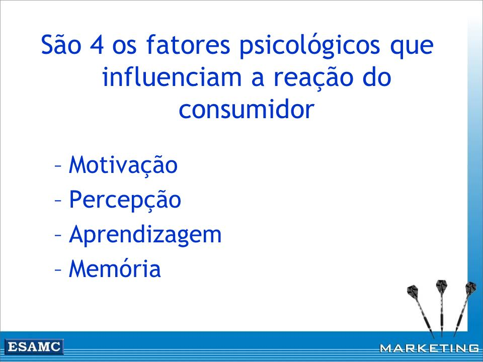 São 4 os fatores psicológicos que influenciam a reação do consumidor