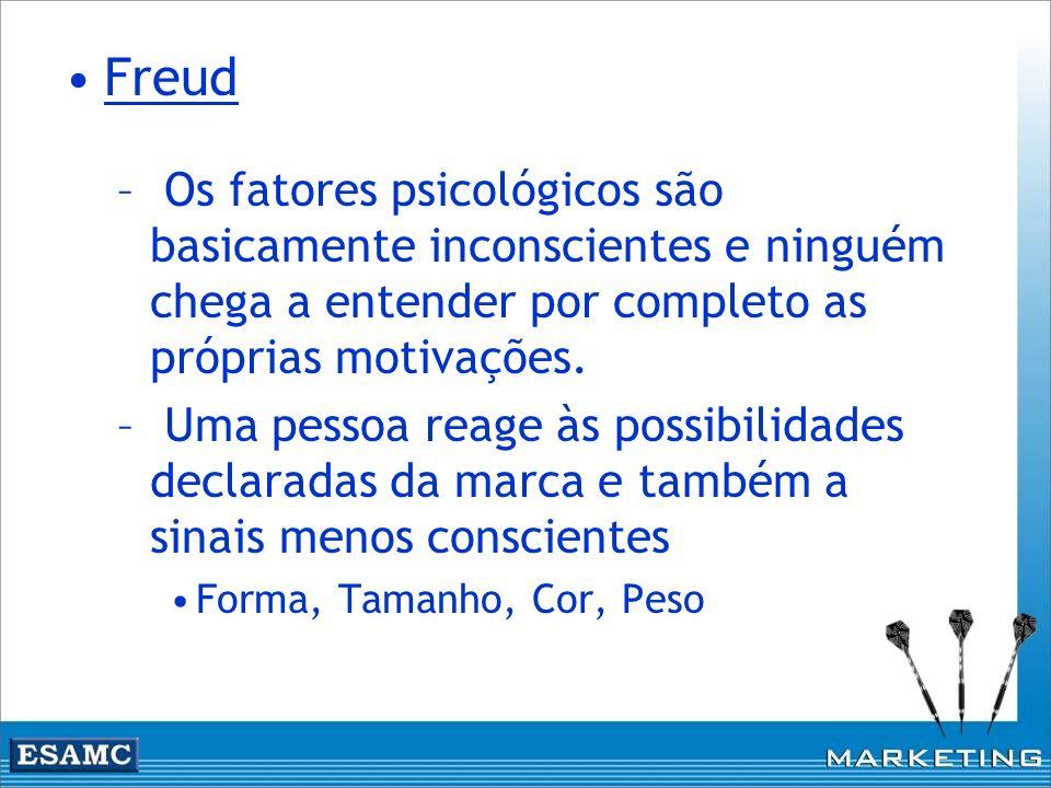 Freud Os fatores psicológicos são basicamente inconscientes e ninguém chega a entender por completo as próprias motivações.