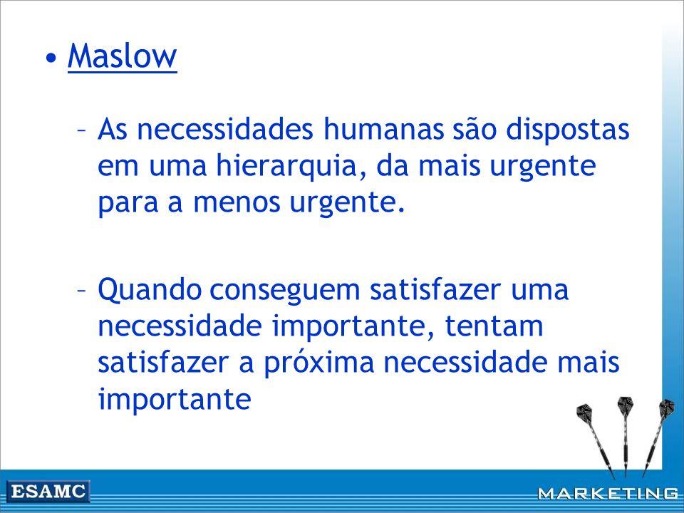Maslow As necessidades humanas são dispostas em uma hierarquia, da mais urgente para a menos urgente.