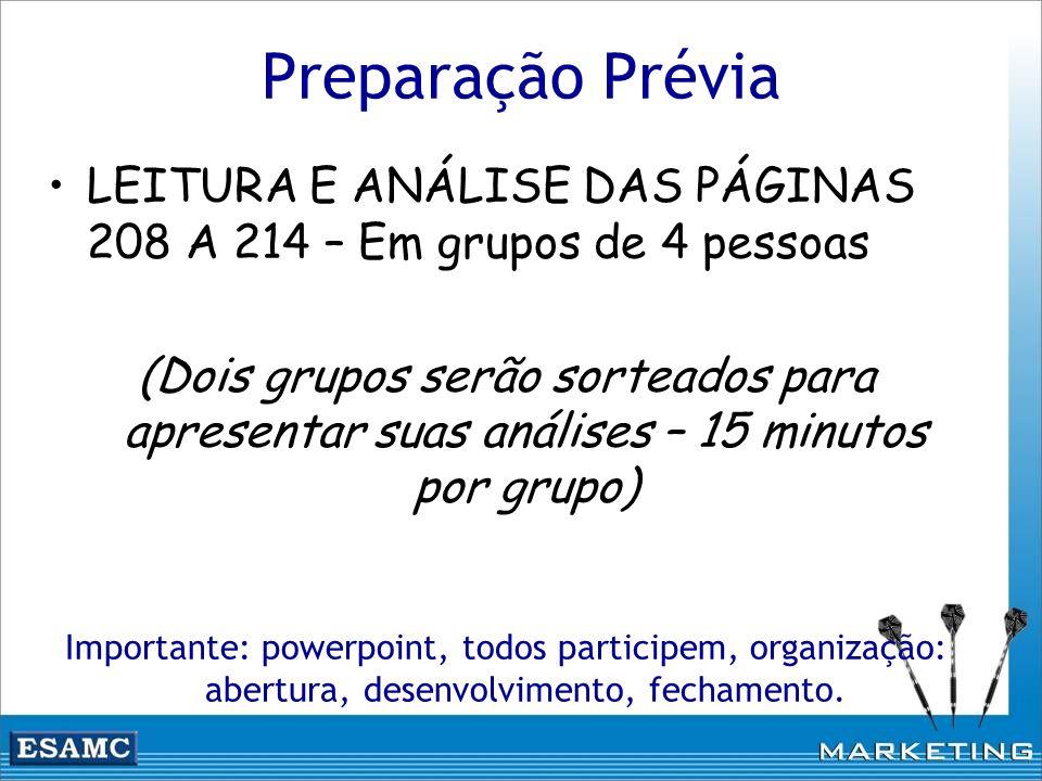 Preparação Prévia LEITURA E ANÁLISE DAS PÁGINAS 208 A 214 – Em grupos de 4 pessoas.