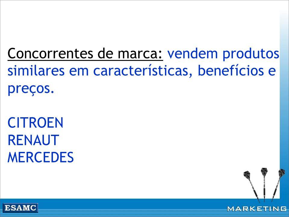 Concorrentes de marca: vendem produtos similares em características, benefícios e preços.