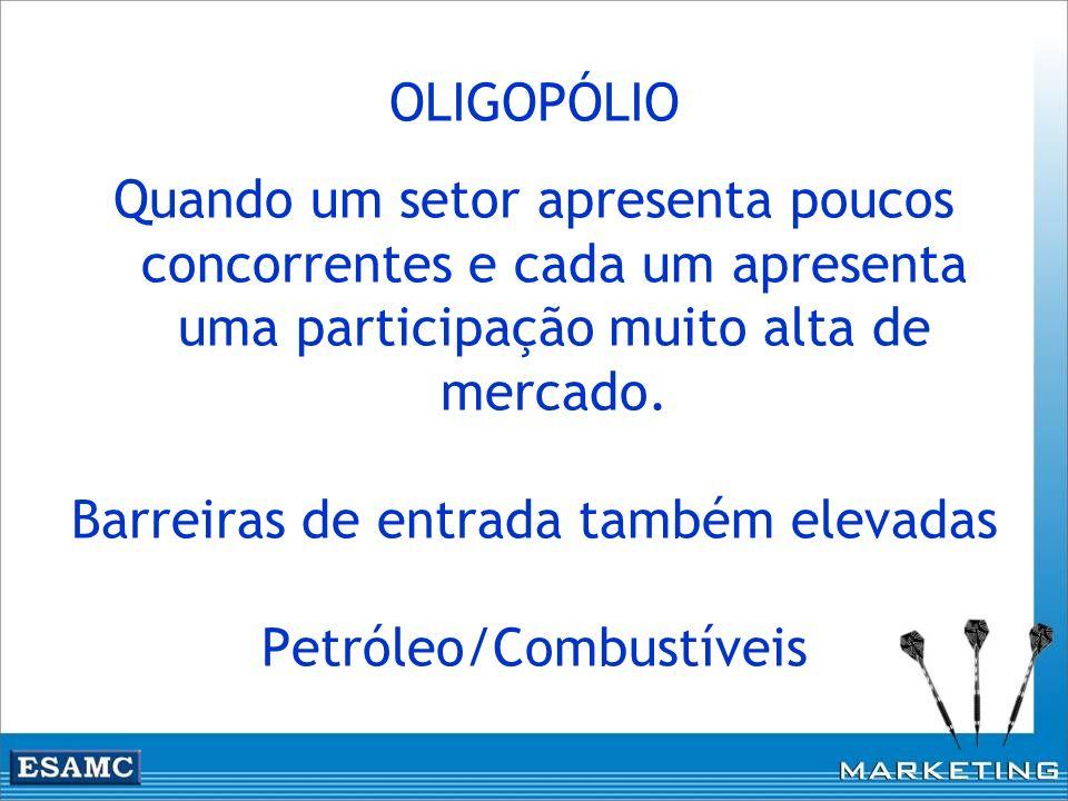 Barreiras de entrada também elevadas Petróleo/Combustíveis