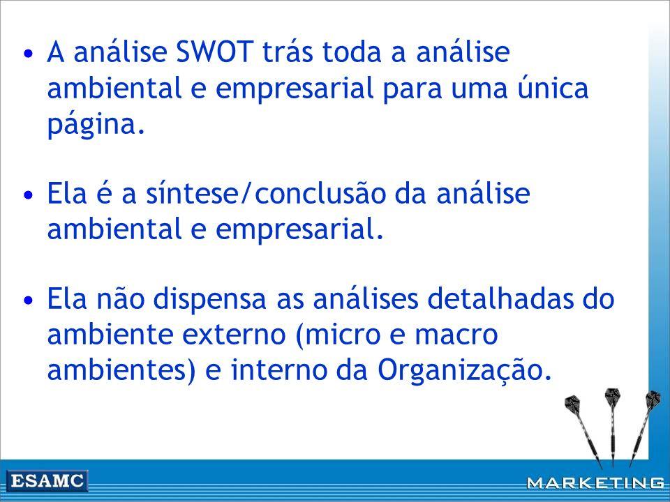 Ela é a síntese/conclusão da análise ambiental e empresarial.