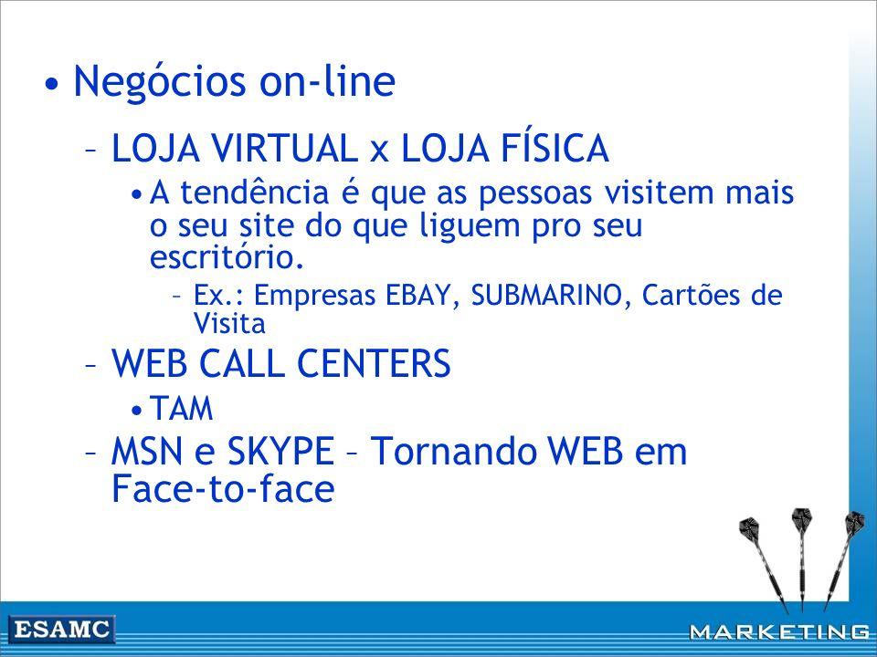 Negócios on-line LOJA VIRTUAL x LOJA FÍSICA WEB CALL CENTERS