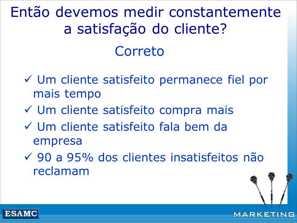 Então devemos medir constantemente a satisfação do cliente