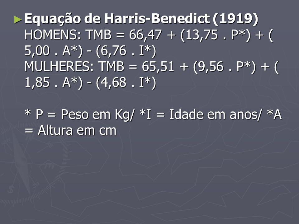 Equação de Harris-Benedict (1919) HOMENS: TMB = 66,47 + (13,75. P