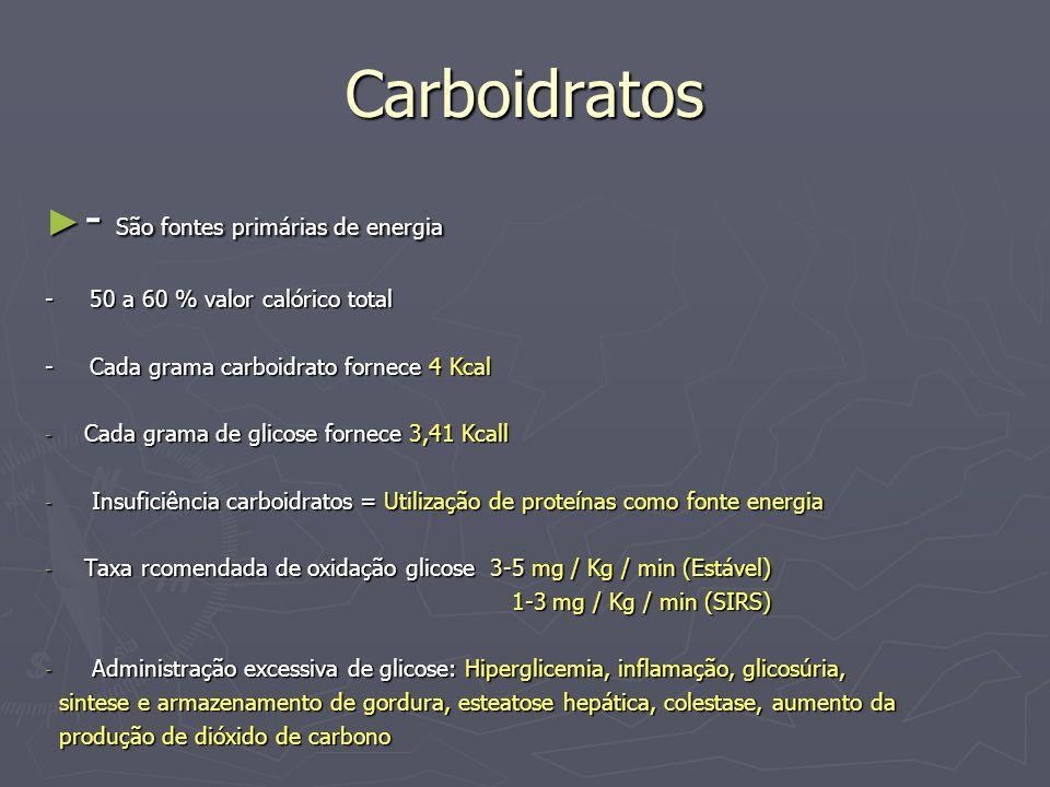 Carboidratos - São fontes primárias de energia