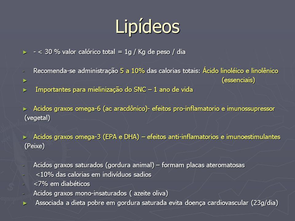 Lipídeos - < 30 % valor calórico total = 1g / Kg de peso / dia