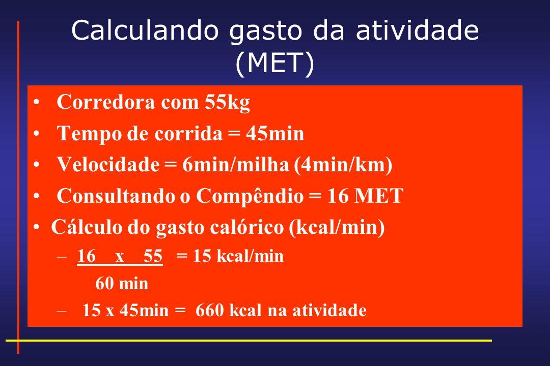 Calculando gasto da atividade (MET)