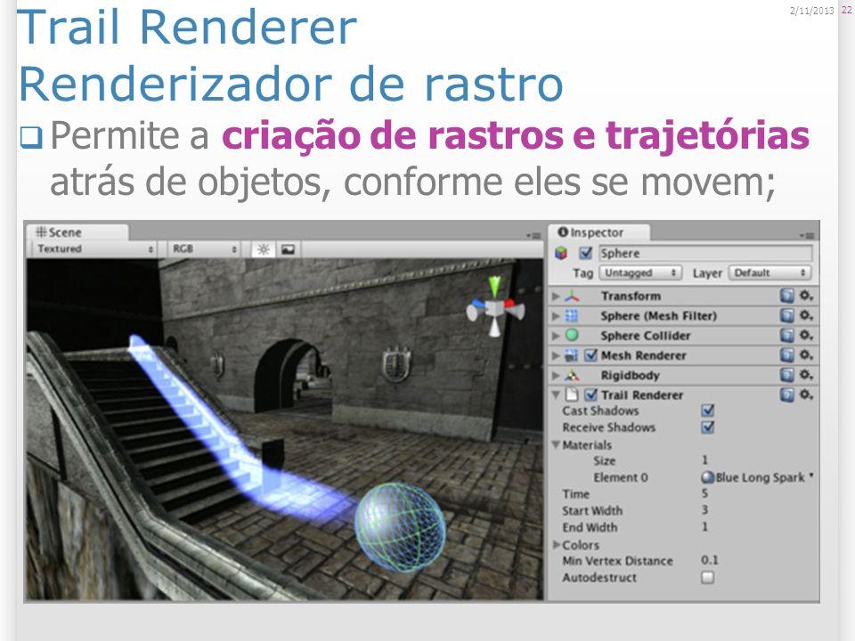Trail Renderer Renderizador de rastro