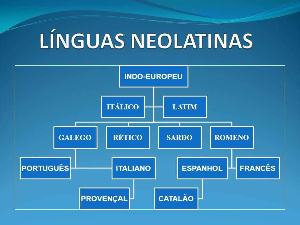 LÍNGUAS NEOLATINAS INDO-EUROPEU ITÁLICO LATIM GALEGO PORTUGUÊS
