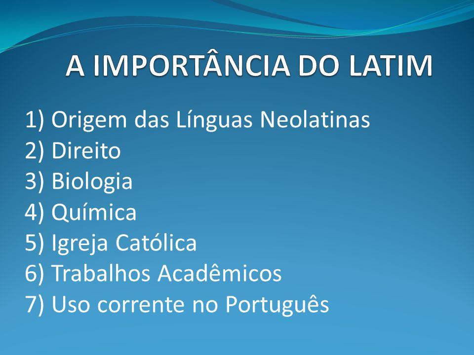 A IMPORTÂNCIA DO LATIM 1) Origem das Línguas Neolatinas 2) Direito