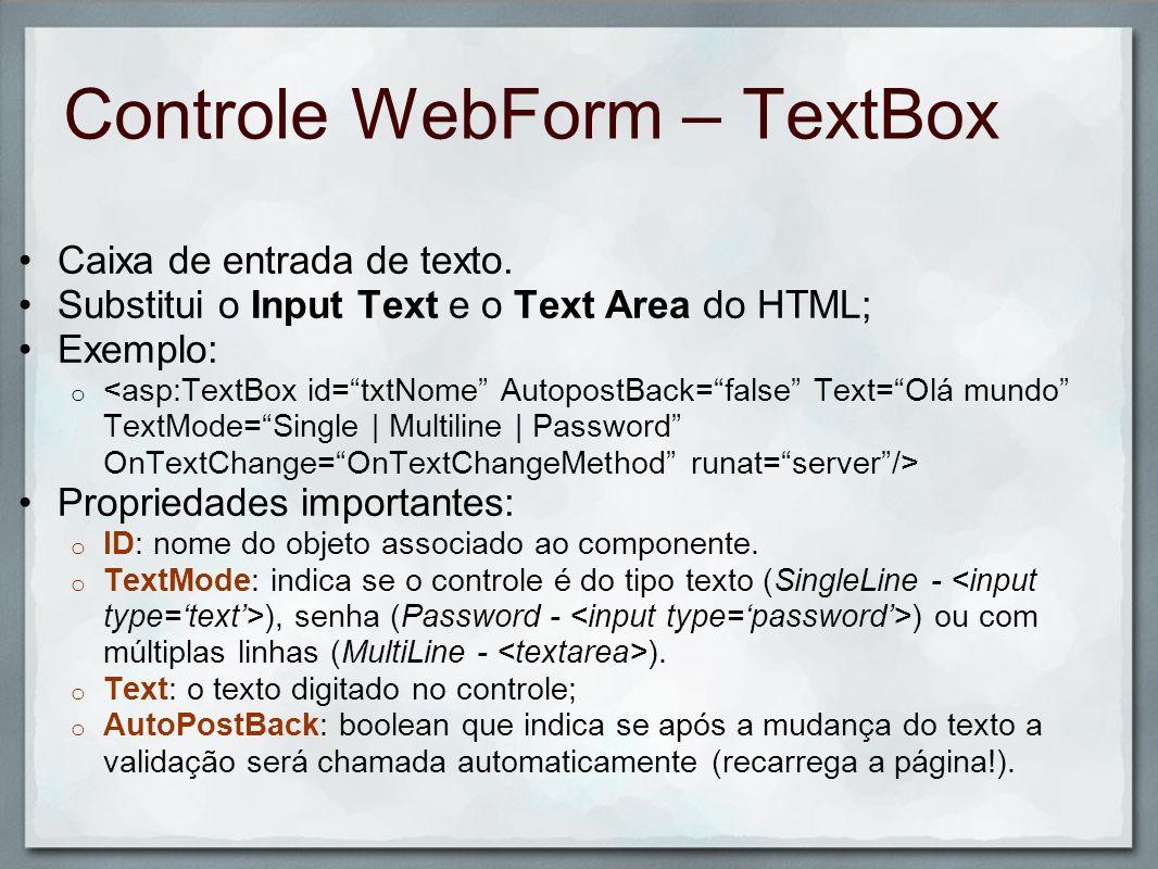 Controle WebForm – TextBox