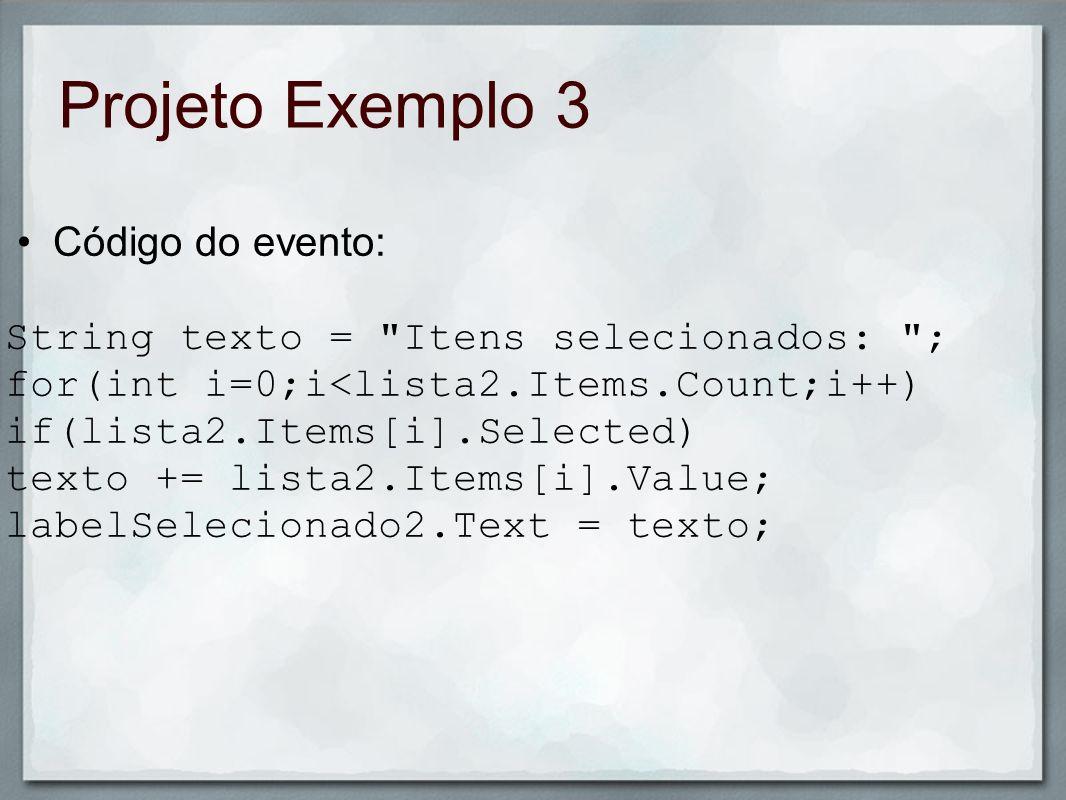 Projeto Exemplo 3 Código do evento: