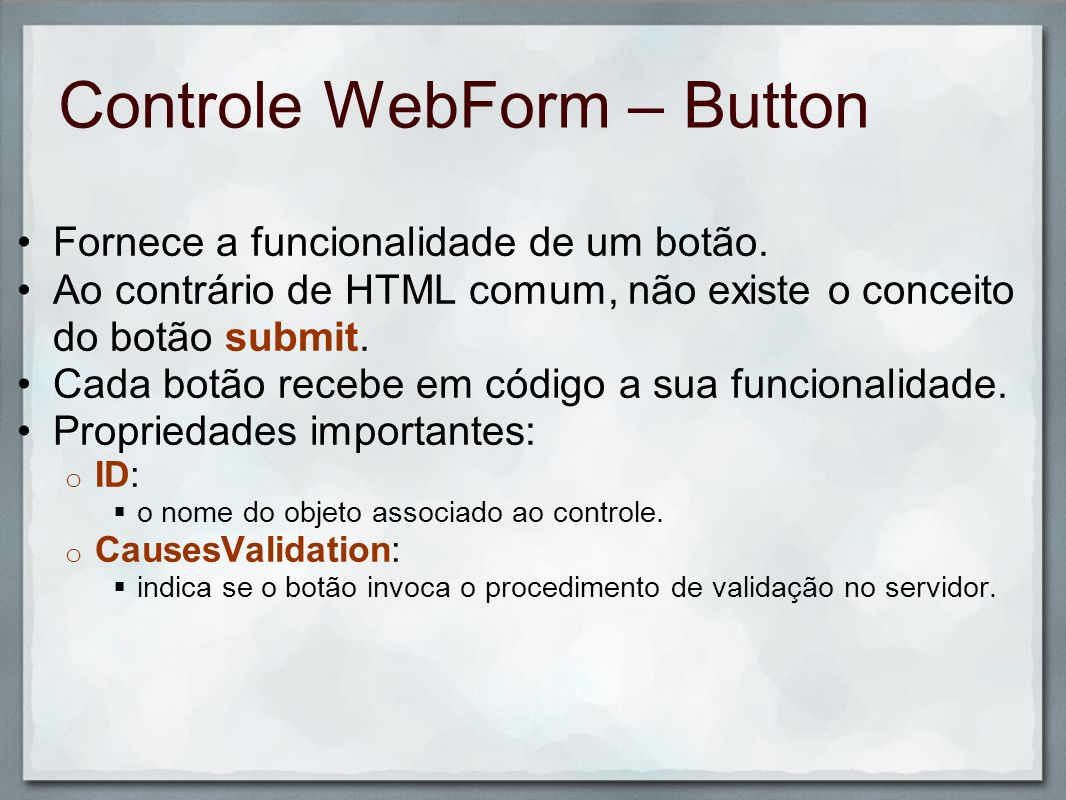 Controle WebForm – Button