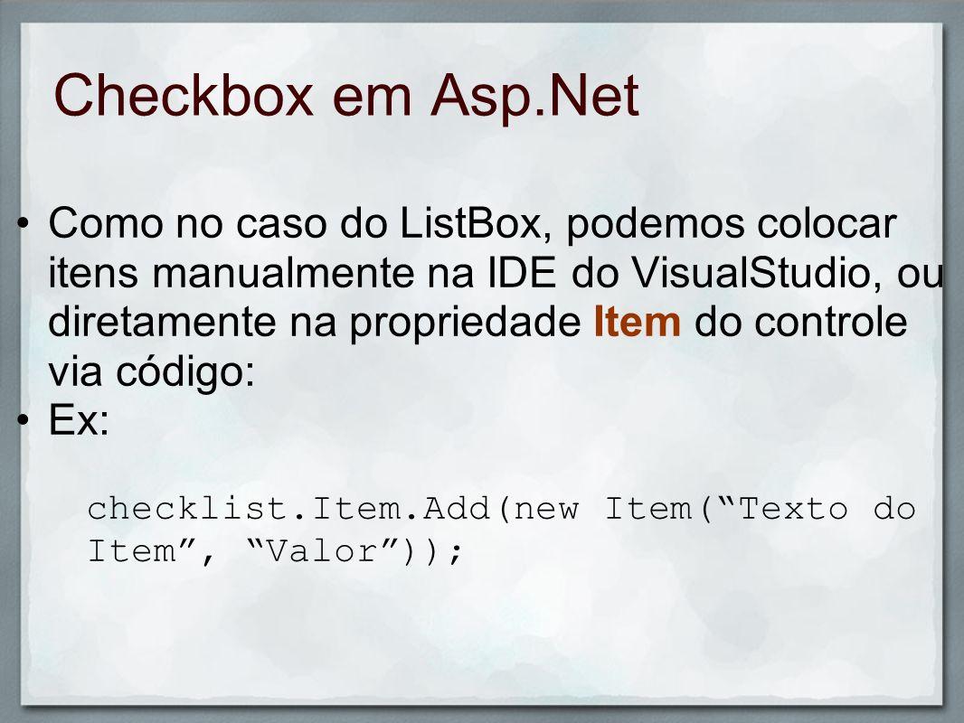 Checkbox em Asp.Net