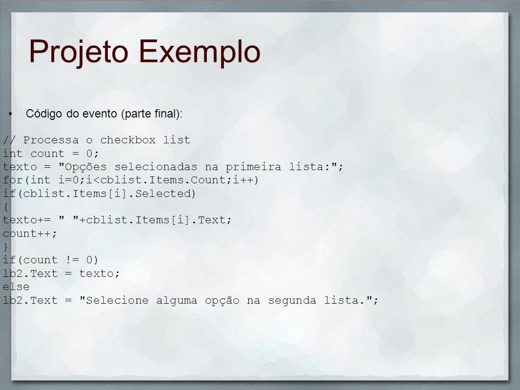 Projeto Exemplo Código do evento (parte final):