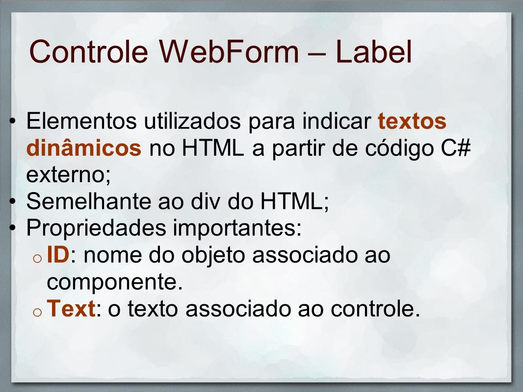 Controle WebForm – Label