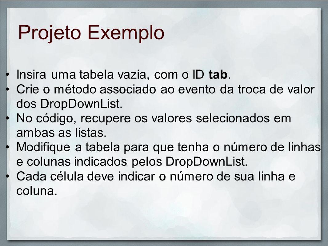 Projeto Exemplo Insira uma tabela vazia, com o ID tab.