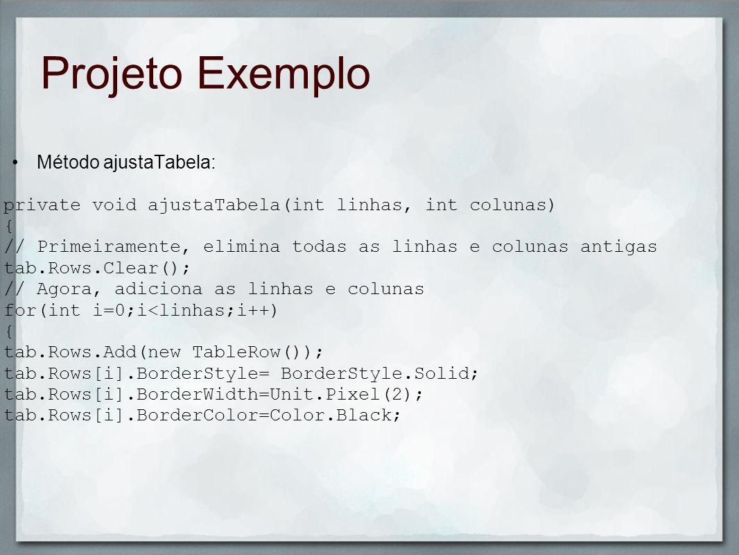 Projeto Exemplo Método ajustaTabela: