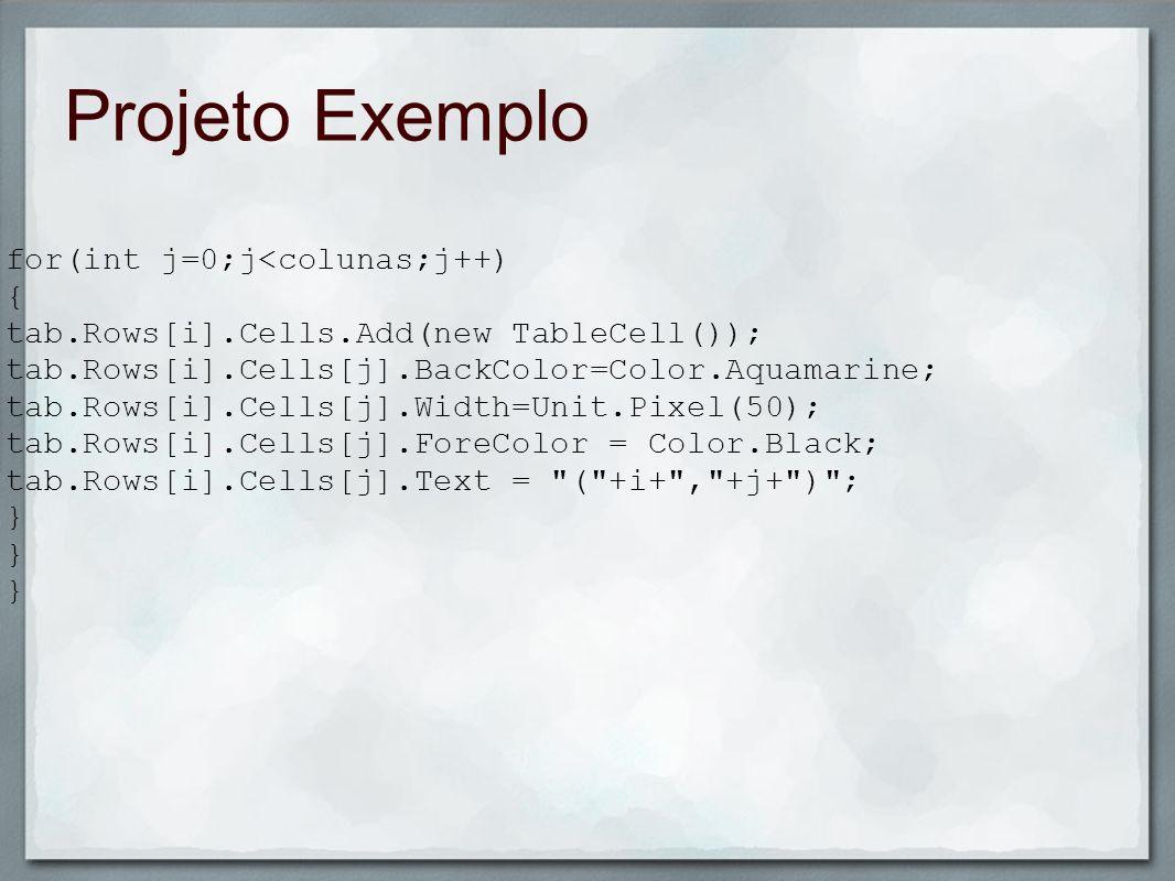 Projeto Exemplo for(int j=0;j<colunas;j++) {